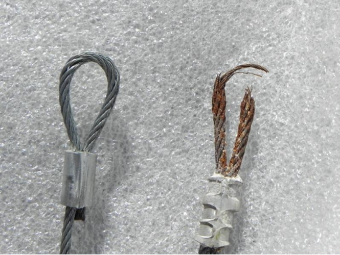 Photo Of Broken Cable Compared To Normal Cable